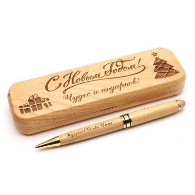 Деревянная ручка в футляре 'Бук'