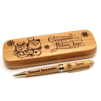 Деревянная ручка с гравировкой Веселые Снеговики
